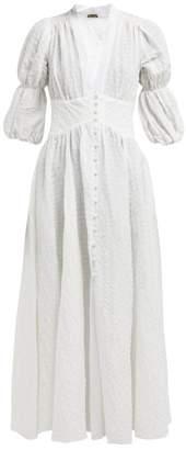 Cult Gaia Willow Puff Sleeve Seersucker Maxi Dress - Womens - Pearl