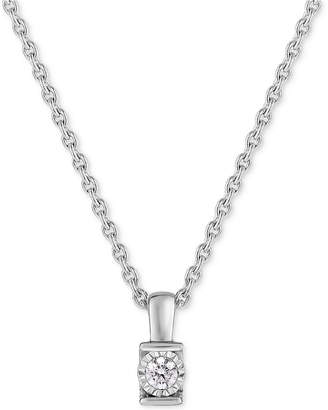 TruMiracle Diamond Channel-Set Pendant Necklace (1/6 ct. t.w.) in 14k White Gold