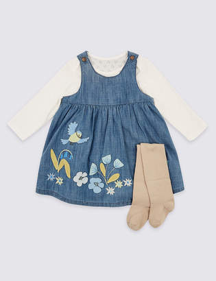 Marks and Spencer 3 Piece Pinafore & Bodysuit with Tights Outfit