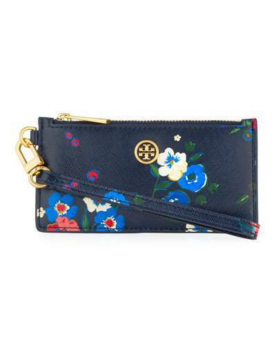 Tory Burch Parker Floral-Print Zip Card Case with Wristlet