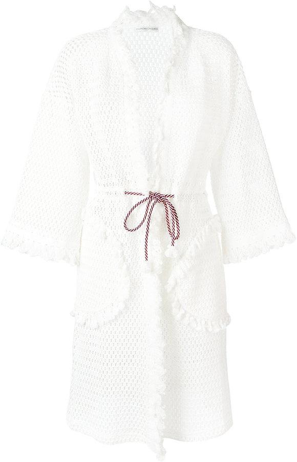 Tsumori ChisatoTsumori Chisato fringed open knit cardigan coat