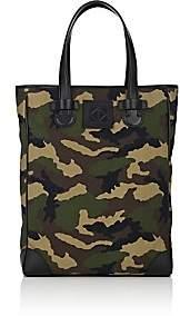 Tomasini Men's Slim Shopper Canvas & Leather Tote Bag-Green