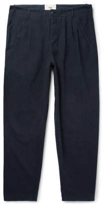 Folk Navy Assembly Tapered Pleated Cotton-Canvas Trousers - Men - Navy
