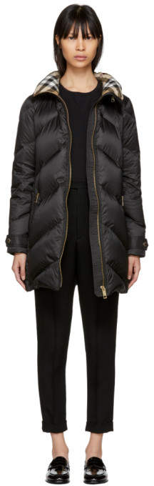 Black Down Quilted Chevron Coat