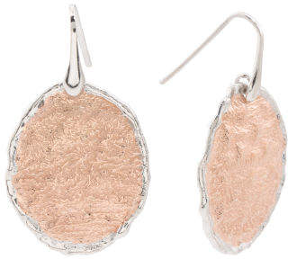 Made In Italy Two Tone Sterling Silver Hammered Earrings