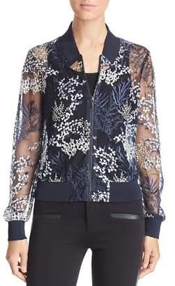 Elie Tahari Brandy Sheer Embroidered Bomber Jacket