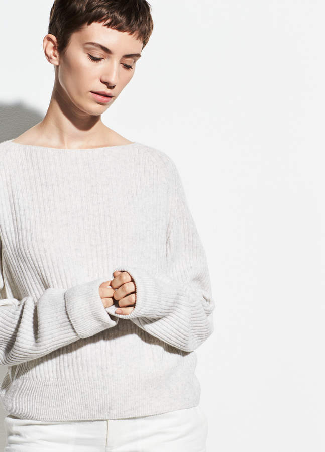 Ribbed Wool-Cashmere Boatneck