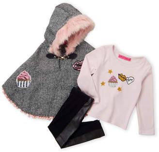 Betsey Johnson Toddler Girls) 3-Piece Hooded Patchwork Poncho & Leggings Set