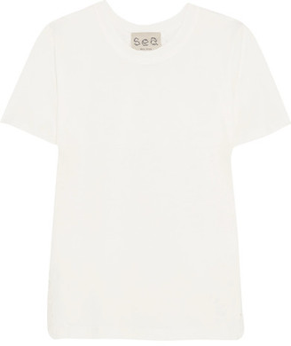 SEA - Cotton-jersey And Broderie Anglaise T-shirt - White $185 thestylecure.com