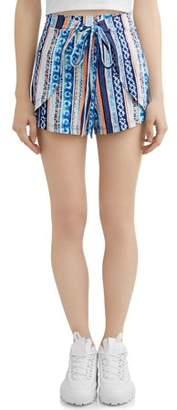 Eye Candy Juniors' Printed Peached Tie Front Tulip Hem Short