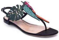 Valentino Tropical Dream Leather & Suede Thong Sandals