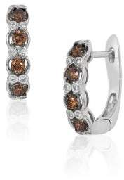 LeVian 14K Vanilla Gold Hoop Earrings with Vanilla Diamonds and Chocolate Diamonds