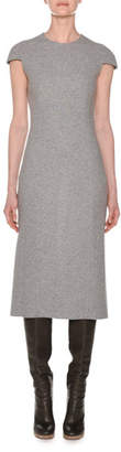 Agnona Cap-Sleeve Fitted A-Line Cashmere Dress, Gray