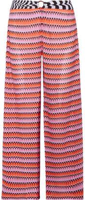 Missoni Mare Cropped Crochet-knit Wide-leg Pants - Pink