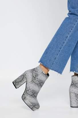 Nasty Gal Snake Print Platform Boots