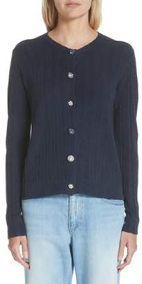 Marc Jacobs Crystal Button Wool & Silk Cardigan