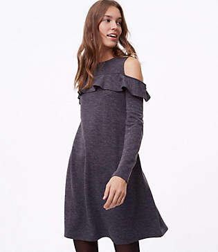 LOFT Tall Ruffle Cold Shoulder Dress