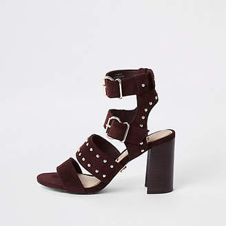 River Island Dark red suede studded block heel sandals