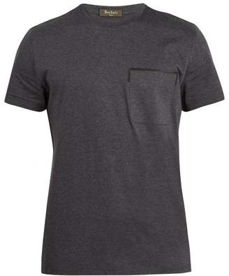 Berluti - Crew Neck Leather Trimmed Cotton T Shirt - Mens - Grey