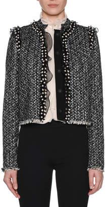 Giambattista Valli Button-Front Tweed Jacket with Pearlescent & Organza Trim