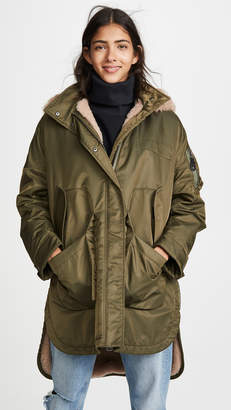 Yves Salomon Army By Curly Lamb Coat