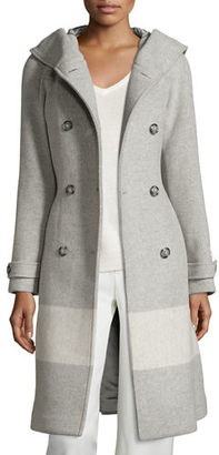 Woolrich Monica Hooded Belted Wool-Blend Coat $1,250 thestylecure.com