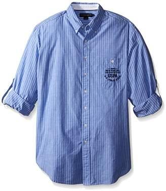 U.S. Polo Assn. Men's Button Down Slim Fit Striped Oxford Shirt