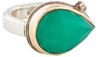 Jamie Joseph Chrysoprase Chalcedony & Diamond Cocktail Ring silver Chrysoprase Chalcedony & Diamond Cocktail Ring