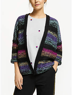 Nümph Ilka Knit Colour Block Cardigan, Caviar