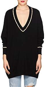 Givenchy Women's Pearl-Inset Wool-Silk-Cashmere Sweater-Black