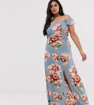 Club L London Plus Plus bardot ruffle sleeve maxi dress in floral print