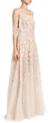 Murad Zuhair Hibiscus Embellished Cold-Shoulder A-Line Gown