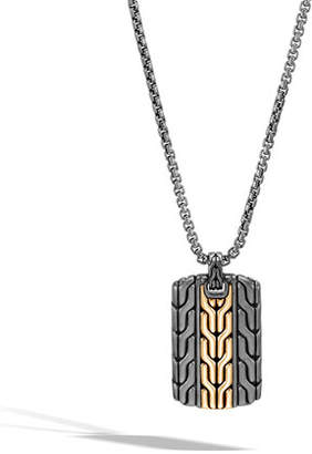 John Hardy Men's Classic Chain Dog Tag Necklace with Rhodium & 18k Gold, 26""