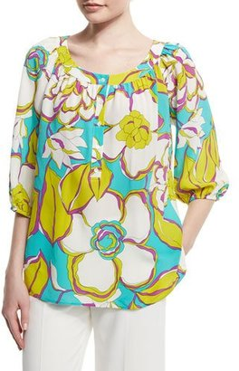 Trina Turk 3/4-Sleeve Floral-Print Top $134 thestylecure.com