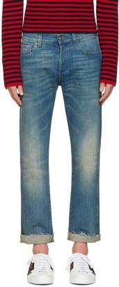 Gucci Indigo Tiger Cropped Jeans $860 thestylecure.com