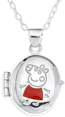 Peppa Pig Sterling Silver Oval Locket Pendant with 40 cm Chain