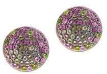Sterling Silver & Tourmaline Disc Stud Earrings