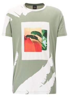 BOSS Hugo Tropical-Print Cotton Graphic T-Shirt Timen M Light Green