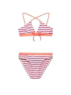 Melissa Odabash Little Girl's& Girl's Two-Piece Stripe Bikini Top& Bottom Set