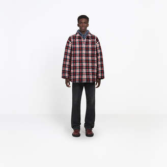 Balenciaga Wool blend flannel checked shirt