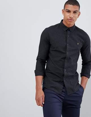 Farah Steen slim fit textured shirt in dark gray