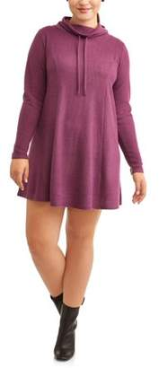 N. Eye Candy Juniors' Plus Size Funnel Neck Fit and Flare Brushed Hacci Dress