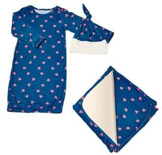 Baby Grey Gown, Blanket & Hat Set