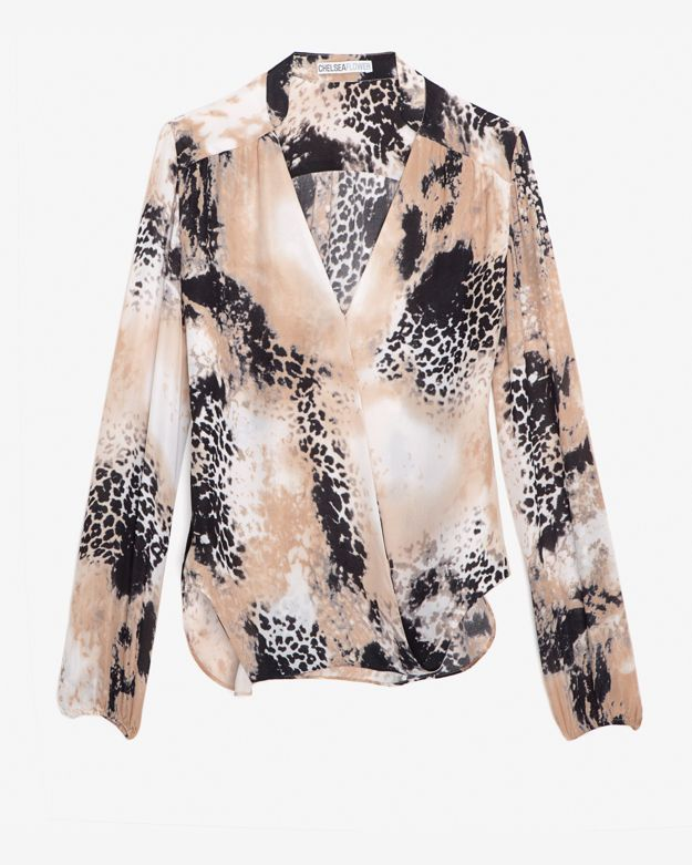 Chelsea Flower Exclusive Faux Wrap Leopard Print Blouse