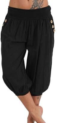 Domple Womens Yoga Loose Jogging Capri Pants Hippie Workout Boho Harem Aladdin Shorts XXXL