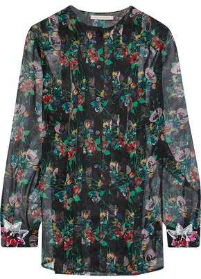 Christopher Kane Crystal-Embellished Pintucked Floral-Print Silk-Gauze Blouse