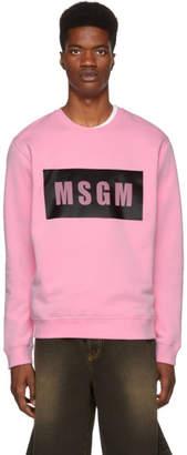 MSGM Pink Panel Logo Sweatshirt
