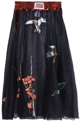 Stella Jean Velvet-Trimmed Embroidered Silk-Organza Midi Skirt