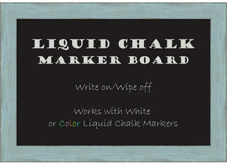 Amanti Art Sky Blue Rustic 20x14 Framed Liquid Chalk Marker Board