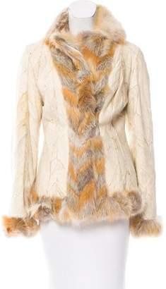 Christian Dior Fox Fur-Trimmed Jacket